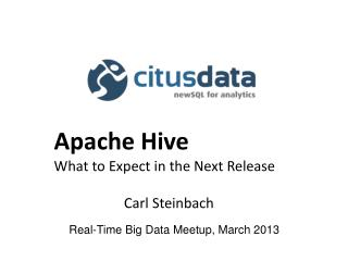 Real-Time Big Data  Meetup ,  March  2013