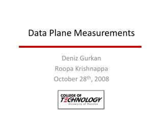 Data Plane Measurements