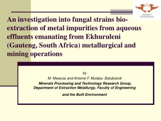An investigation into fungal strains bio-extraction of metal impurities from aqueous effluents emanating from Ekhuruleni