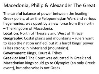 Macedonia, Philip & Alexander The Great