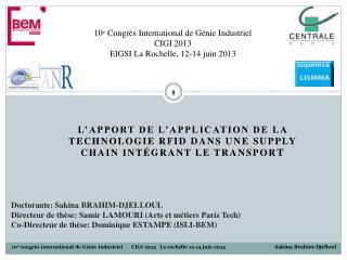 L'apport de l'application de la technologie RFID dans une Supply Chain intégrant le transpor t