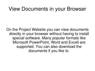 View Documents in your Browser