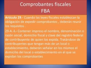 Comprobantes fiscales FBA