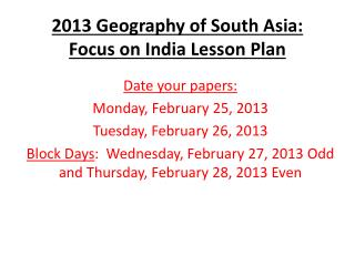 2013 Geography of South Asia:  Focus on India Lesson Plan