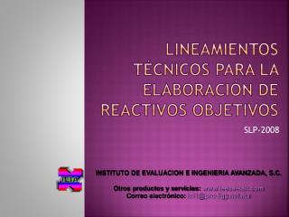 Lineamientos técnicos para la elaboración de  REACTIVOS objetivos