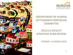 DEPARTMENT OF HUMAN SETTLEMENTS PORTFOLIO COMMITTEE  2012