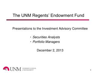 The UNM Regents' Endowment Fund