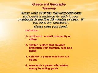 Greece and Geography Warm-up