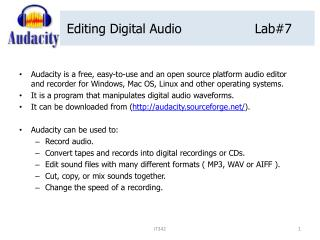 Editing Digital Audio			Lab#7