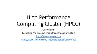 High Performance Computing  Cluster (HPCC)