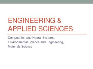Engineering & Applied Sciences