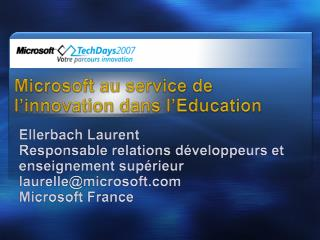 Microsoft au service de l'innovation dans l'Education