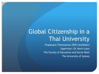 Global Citizenship in a Thai University