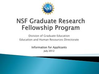 NSF Graduate Research Fellowship Program