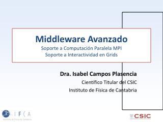 Middleware  Avanzado Soporte  a  Computación Paralela  MPI   Soporte  a  Interactividad  en Grids