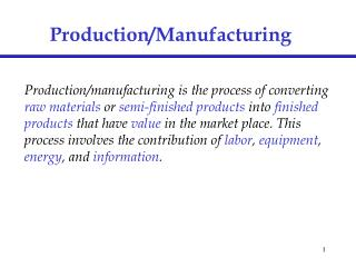 Production/Manufacturing