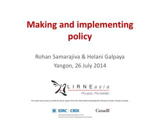 Making and implementing policy