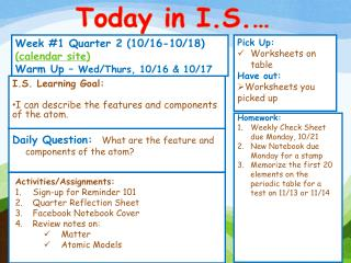 Week # 1 Quarter 2 (10/16-10/18)  (calendar site) Warm Up �  Wed/Thurs, 10/16 & 10/17