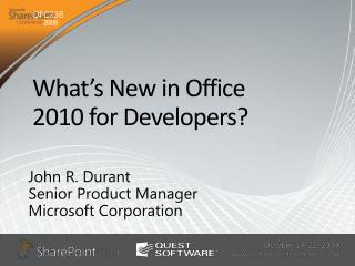 What s New in Office  2010 for Developers