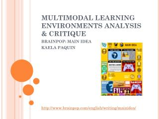 MULTIMODAL LEARNING ENVIRONMENTS ANALYSIS & CRITIQUE