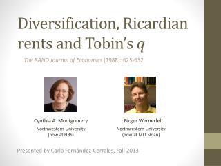 Diversification, Ricardian rents and Tobin's  q