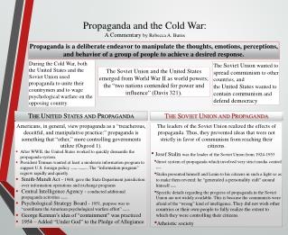 Propaganda and the Cold War:  A Commentary  b y Rebecca A. Burns