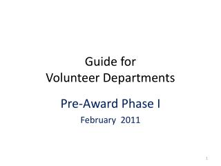 Guide for  Volunteer Departments