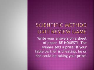Scientific Method Unit Review  Game