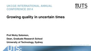 UKCGE International annual conference 2014