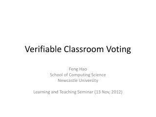 Verifiable Classroom Voting