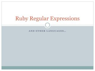 Ruby Regular Expressions