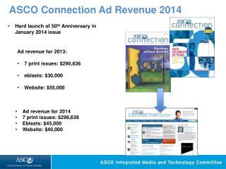 ASCO Connection Ad Revenue 2014