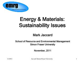 Energy & Materials: Sustainability Issues