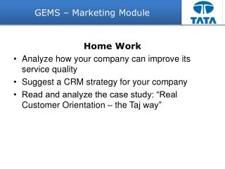 GEMS – Marketing Module