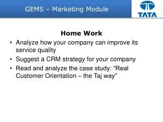GEMS � Marketing Module