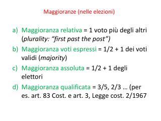 Maggioranze (nelle elezioni)