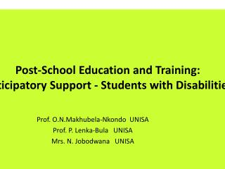 Post-School  Education and  Training:  Anticipatory Support - Students  with Disabilities