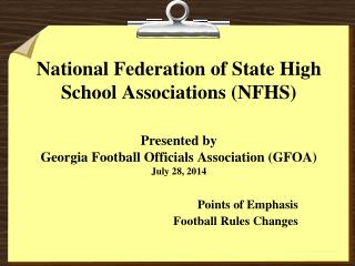 Points of Emphasis Football Rules Changes