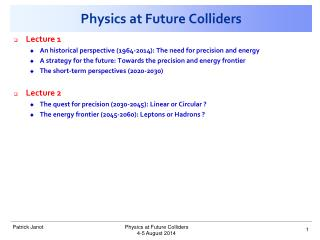 Physics at Future Colliders