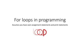 For loops in programming
