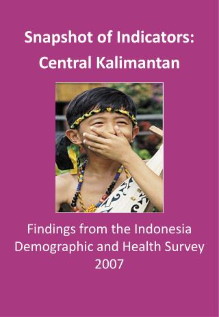 Findings from the Indonesia Demographic and Health Survey 2007