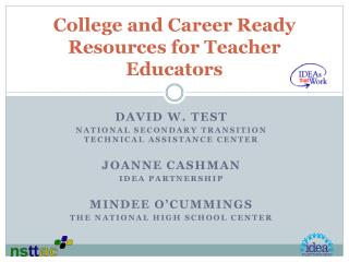 College and Career Ready Resources for Teacher Educators