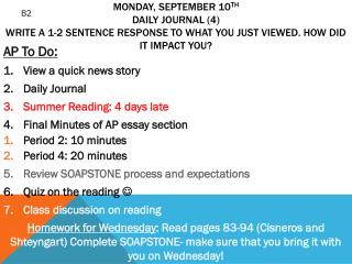 AP To Do: View a quick news story  Daily Journal Summer Reading:  4  days  late