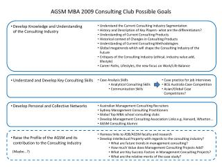 AGSM MBA 2009 Consulting Club Possible Goals