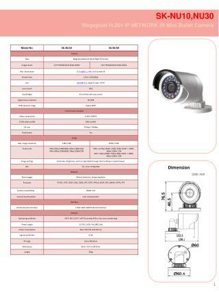 SK-NU10,NU30  Megapixel H.264 IP  NETWORK IR Mini Bullet Camera