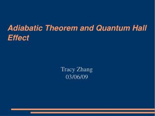Adiabatic Theorem and Quantum Hall Effect