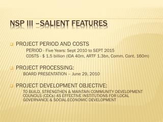 NSP  III –salient features