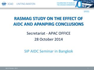 RASMAG STUDY ON THE EFFECT OF AIDC AND APANPIRG CONCLUSIONS
