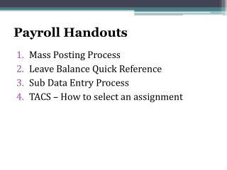 Payroll Handouts
