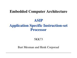Embedded Computer Architecture